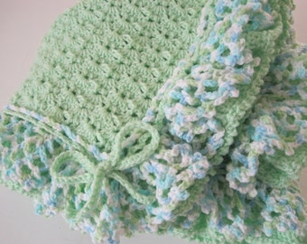 Baby Boy, Sprite Green with Multi Colored Ruffles, Baby Afghan, Baby Shower, Baby Girl, Baby Blanket
