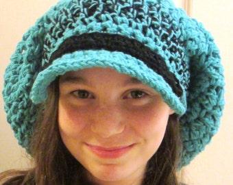 Crochet Pattern Hat Slouch Hat Chunky Hat Brim Hippie Hat Newsboy Hat Bohemian Hat Vintage Hat SALE
