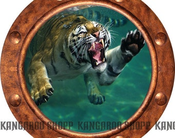 Tiger 2 Underwater Porthole Wall Decal