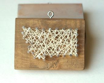 Montana String and Nail Art Rustic Wood Ornament