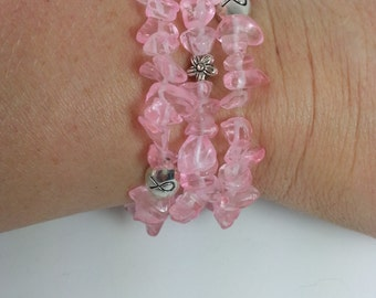 Set of 3 breast cancer awareness stretch bracelets