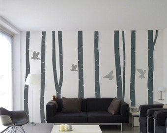 Wall stickers - Silver Birch Tree Forest With Birds Wall Vinyl Stickers modern wall decals bedroom wall stickers home decor wall sticker