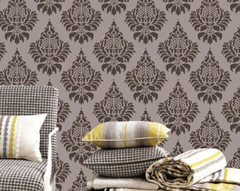DIY reusable wall décor,Home wall décor,Damask pattern wall stencil-16