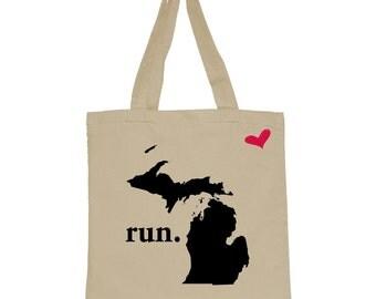 RUN Michigan Canvas Tote Bag