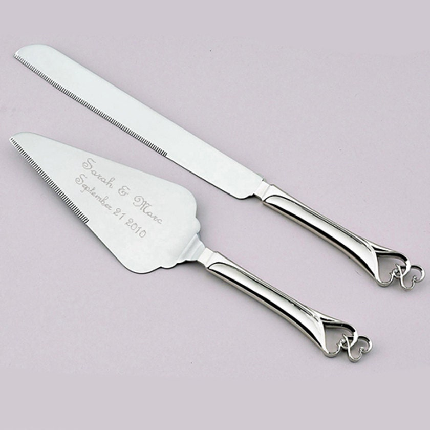 engraved wedding cake knife and server hearts wedding cake knife and server set personalized just 3921
