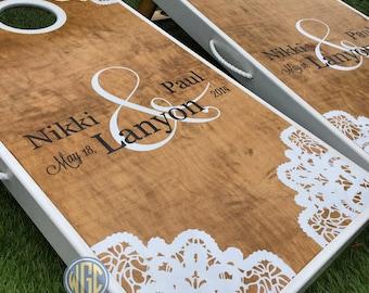 Lace Corners Custom Cornhole Board Set