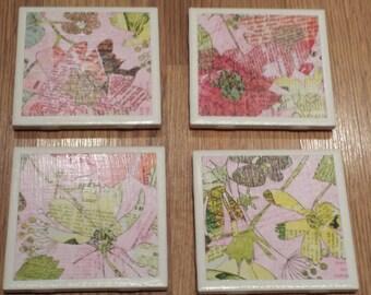 Pink Floral Tile Coasters Set of Four (4)