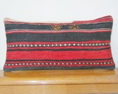 Ethnic tribal Vintage Lumbar Red Black Hand Embroidery Pillow Red stripe Pillow Black Striped Cushion wool  vintage antique sham cover
