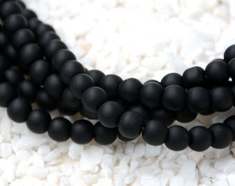 "26PCs (8mm) Black Round Cultured Sea Glass Beach Glass Beads  8"" (About 26pcs/strand)"