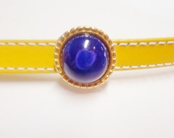 1 Lapis Howlite Slider with Gold JBB Findings Setting for 10mm Flat Leather finding, jewelry supply, genuine gemstone,