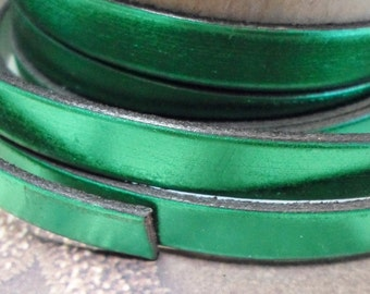 """Per 8"""" Shocking Metallic Green 10mm Flat leather finding, jewelry supplies, metallic, leather cord, supplier, ships to,"""
