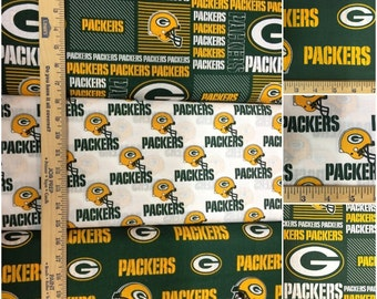 Green Bay Packers NFL Logo Green & Gold Cotton Fabric by Fabric Traditions! [Choose Your Cut Size]