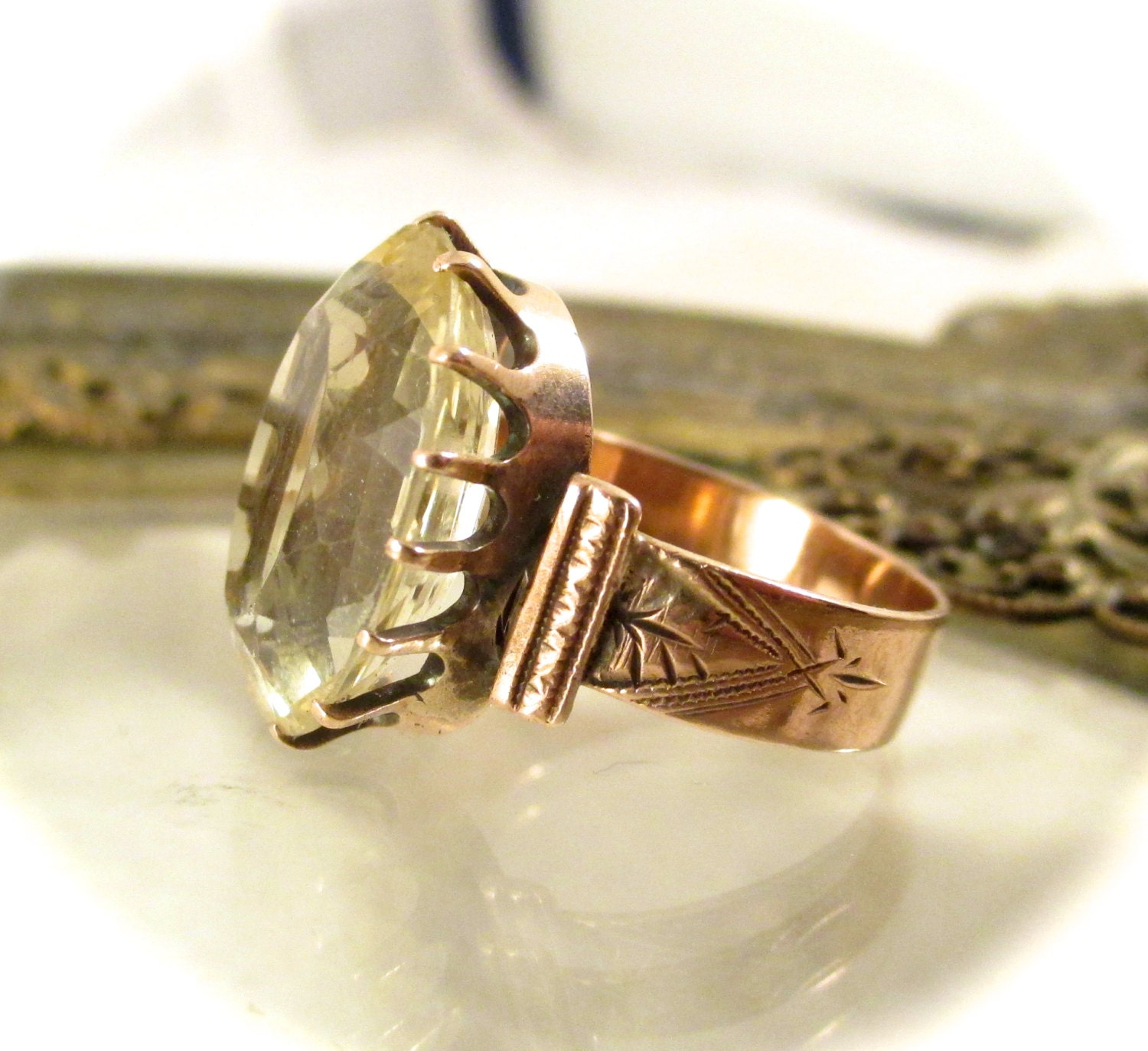 antique 14k gold citrine ring 14k by