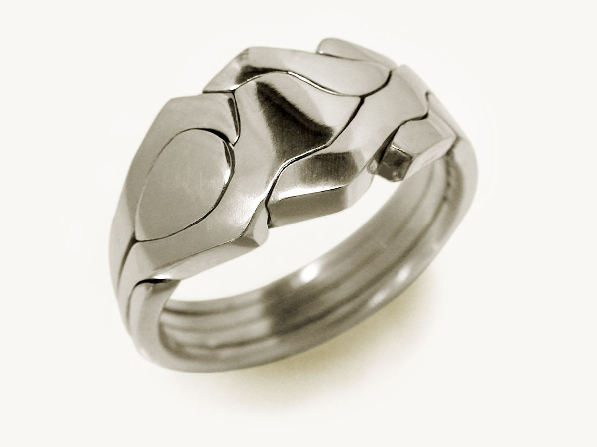robot unique puzzle rings by puzzleringmaker by