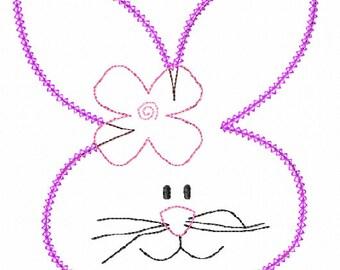 Vintage Stitch Girl Bunny Applique Design