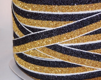 "5 or 10 Yards Black & Gold GLiTTER Split FOE - 5/8"" Fold Over Elastic - DiY Hair Ties Headbands - New Orleans Saints Colors No Pull Material"