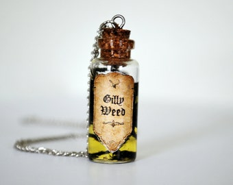 Harry Potter Inspired Bottle Necklace: Gillyweed, HP necklace, minimalistic necklace, potion necklace, seaweed potion, beach jewelry, potion