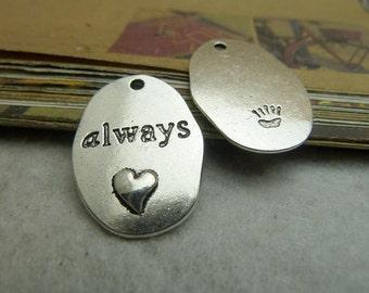 20pcs 18x26mm Antique Bronze / Antique Silver Always Heart Charm Pendant Ac7018