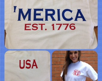 American pride USA spirit short sleeve monogram t-shirt patriotic