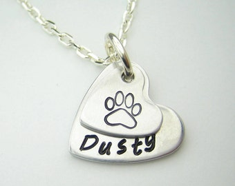 Pet name necklace, cat mom, dog mom, heart paw hand stamped necklace