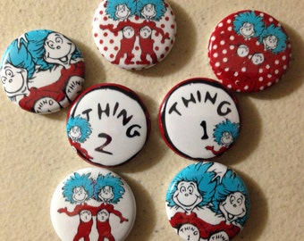 Thing 1 Thing 2 Seuss flatbacks, crafts, bottlecaps, scrapbooking