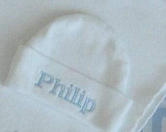 CUFF NEWBORN BEANIE Hat, Baby Blue - Hospital Hat - Newborn Hat - Name Reveal, Beenie, Hospital Beanie, Baby Boy Hat, Photo Prop