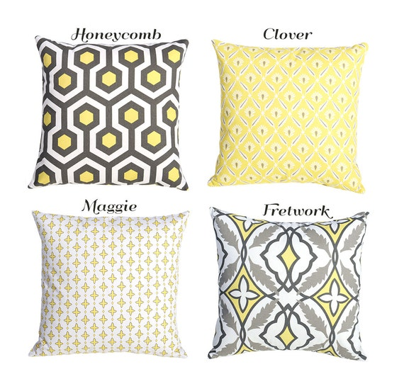 Pale Yellow Throw Pillow Cover : One Light Yellow and Gray Pillow Cover Euro Sham by Pillomatic
