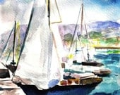 Watercolor Boats of Santa Barbara Impressionist Style Painting Coastal Art Blue Green