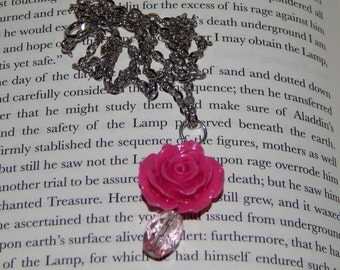 Beautiful Pink Flower and Crystal Necklace