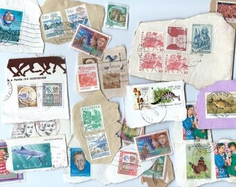 Vintage Postage Stamps - Lot of 34 - Scrapbooking, collage, altered art
