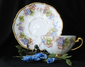 Beautiful Antique Limoges Cup and Saucer with Hand Painted Violets