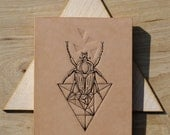 Tattooed leather art. Handmade. Inked. Tattoo. Original artwork. Geometric Mono Bug with Triangle  in gift box