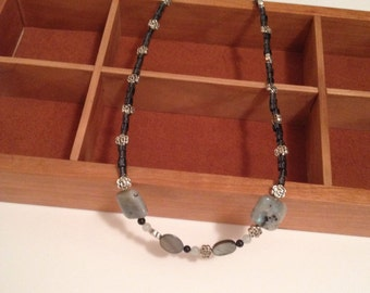 Mystic Blue Stone with Albalone and glass bead necklace