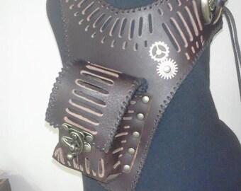 Brown Leather Steampunk Vest