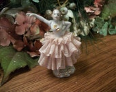 Dresden Ballet Dancer Figurine Antique German Porcelain Hand Painted with Porcelain Dipped Lace Pink Dress Collectible Art
