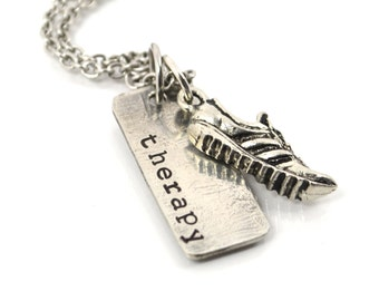 Run Necklace  Running is THERAPY Necklace with Running Shoe Charm