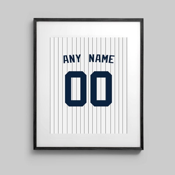 Wall Art – Baseball Poster – New York Yankees - Personalized Jersey Poster with Name and Number – Custom Poster 5x7 – 8x10 – 16 x 20
