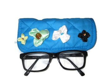Christmas Gift, Blue eyeglass case, Reading glasses case, Embroidery case