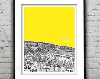 Orange County California Poster Art Skyline Print Laguna Beach CA