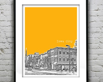 Iowa City Downtown Poster Art Print Iowa IA
