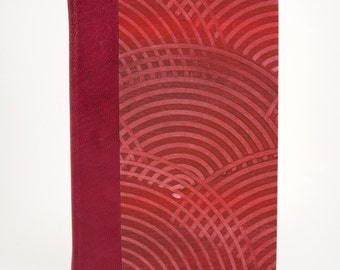 Red Quarter Leather Hardcover Blank Book