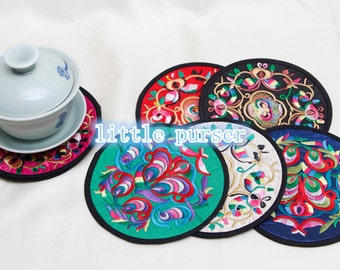 Cup mat/embroidery cup mat, cup mat/embroidered features cup mat/teacup pad