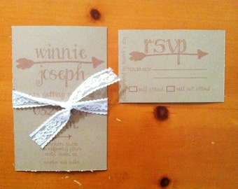 Arrow Wedding Invitation with kraft and lace - 100 Count with rsvp cards