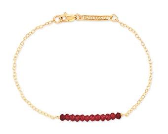 14kt Gold Filled Garnet Bar Bracelet