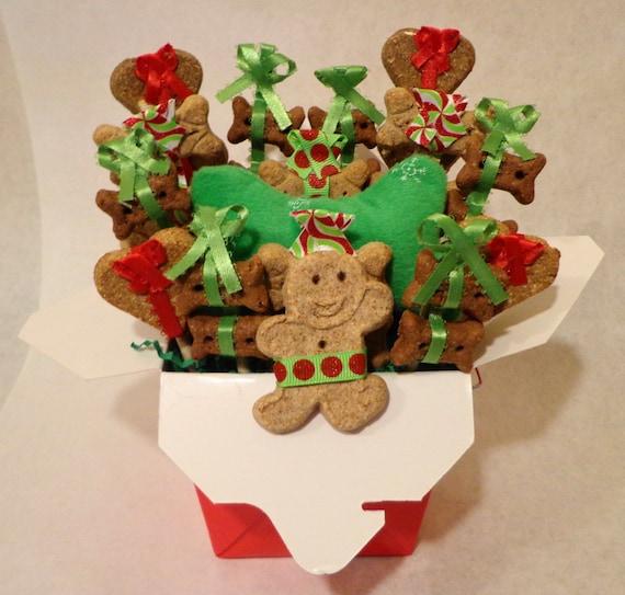 Etsy Dog Gift Baskets : Dog biscuit treat basket unique gift colorful custom