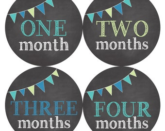 Monthly Baby Stickers, Baby Monthly Stickers, Chalkboard Stickers, Baby Boy Monthly Stickers - Blue, Green, Baby Boy, Baby Shower Gift