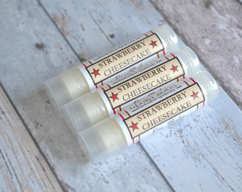Strawberry cheesecake lip balm, bath and beauty, lip butter, lib balm, paraben free, cruelty free, made with beeswax