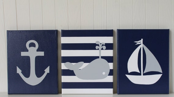 Nautical nursery painting decor anchor sailboat nursery whale for Accessoires salle de bain theme mer