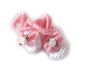 Instant download, Knitting PATTERN for pink spring sandals (PDF file), baby sizes