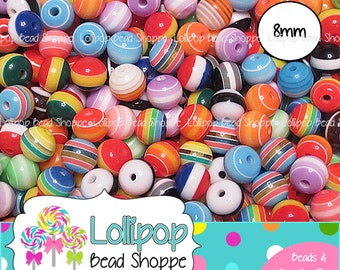 MULTI Color STRIPED Beads 8mm Gumball Beads Stripe Resin Beads Round Beads MIX 150-ct Plastic Stripes Bead Bubblegum Beads Bubble Gum Beads